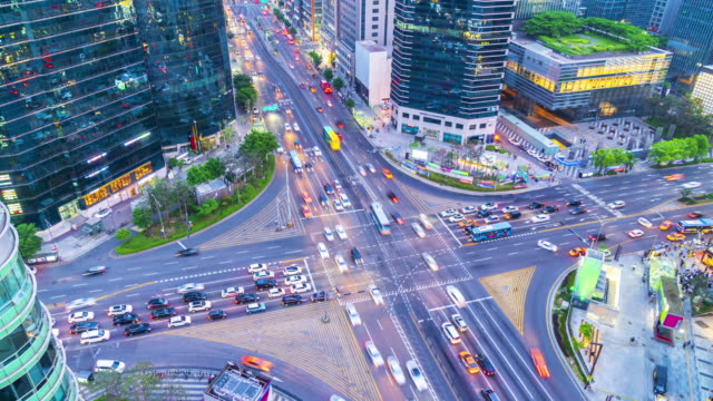 4k Time lapse Traffic of Gangnam City Skyscaper in Seoul,South Korea video