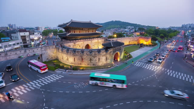 4k Time lapse Traffic of Suwon City at Changanmun Gate,Suwon Hwaseong Fortress in Seoul,South Korea video