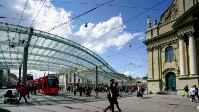4k time lapse Trams and bus station in Bern Switzerland