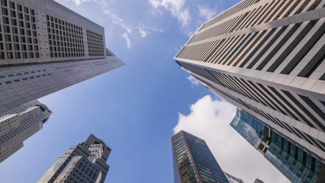 4k Time lapse upper view of business and financial skyscraper buildings in Singapore. video