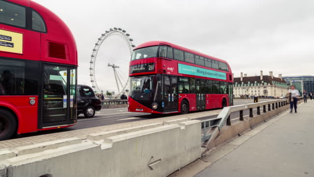 4k Time Lapse Video On Westminster Bridge London And London Eye In The Background