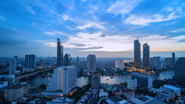 4k, bangkok şehir tayland time lapse görünümü - bangkok stok videoları ve detay görüntü çekimi