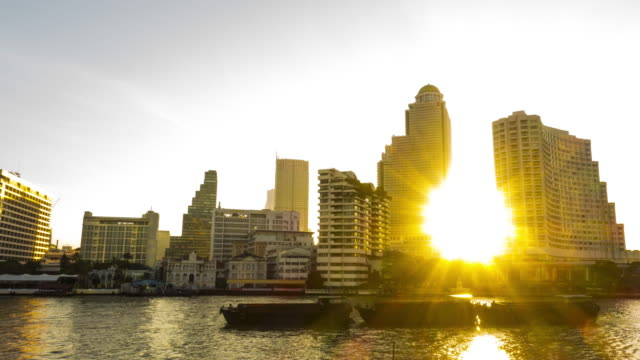 4k : Time lapse view of Bangkok skyline at sunrise video