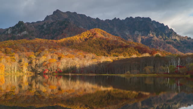 4k Time lapse with dolly left of Kagamiike pond in autumn season, Nagano, Japan.
