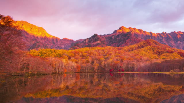 4k Time lapse with dolly right of Kagamiike pond in autumn season, Nagano, Japan.