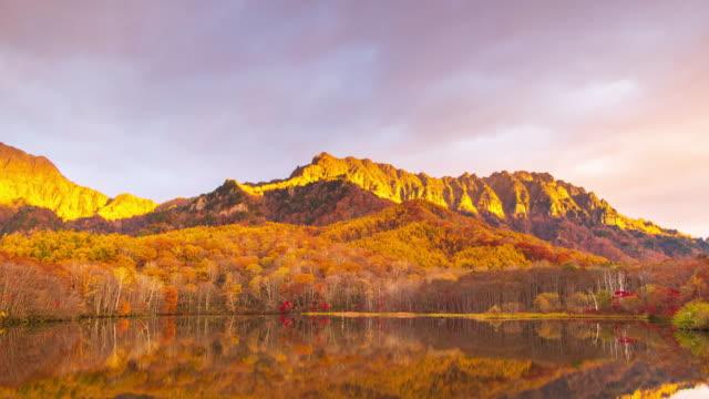 4k Time lapse with tilt down of Kagamiike pond in autumn season, Nagano, Japan.