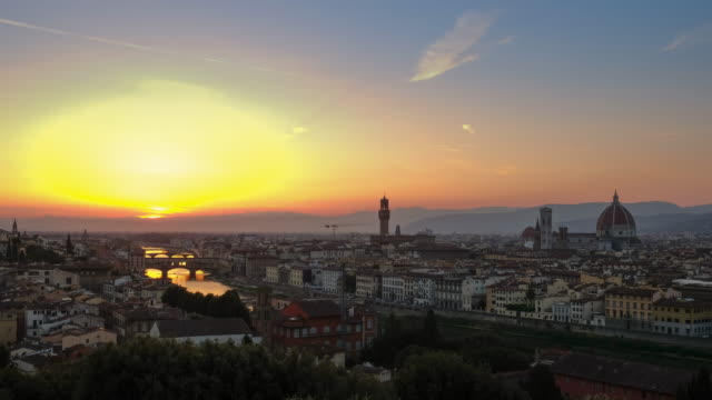4k Timelapes : Sunset view of Ponte Vecchio, Florence, Italy Florence - Italy, Italy, Urban Skyline, Cityscape, Duomo Santa Maria Del Fiore renaissance architecture stock videos & royalty-free footage