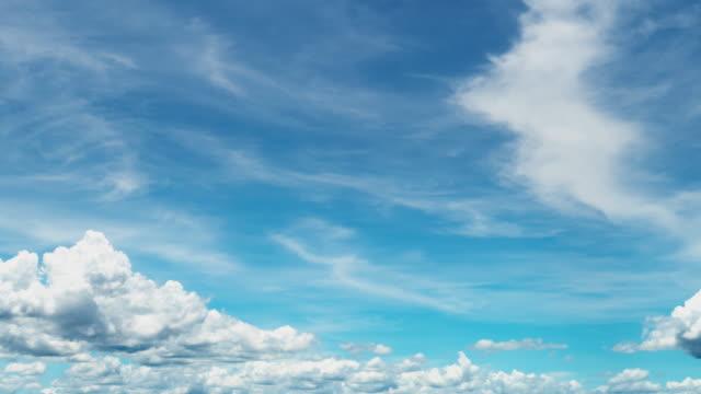 4kタイムラペ:雲のある澄んだ空 - 巻雲点の映像素材/bロール