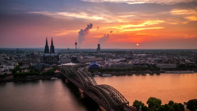 4k Timelapse : Aerial Cologne Cathedral Hohenzollern Bridge at sunset, Germany