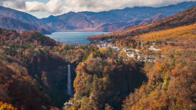 4k Time-lapse at Kegon falls in autumn season, Nikko, Japan. 4k Time-lapse at Kegon falls in autumn season, Nikko, Japan. Beautiful landscape and colourful background in japan autumn leaf from Akechidaira Observatory view point. high dynamic range imaging stock videos & royalty-free footage