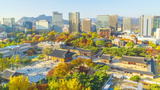 4k Timelapse Autumn of Deoksugung Palace in Seoul City,South Korea video