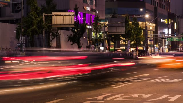 4k Timelapse Car Traffic At Hongdae At Night Int South Korea