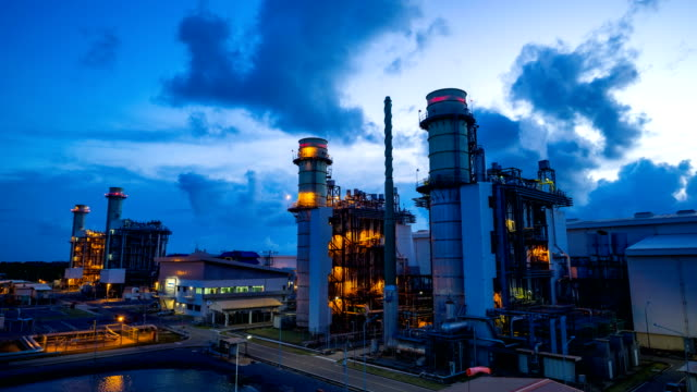 4k timelapse day to night of combined cycle powerplant video