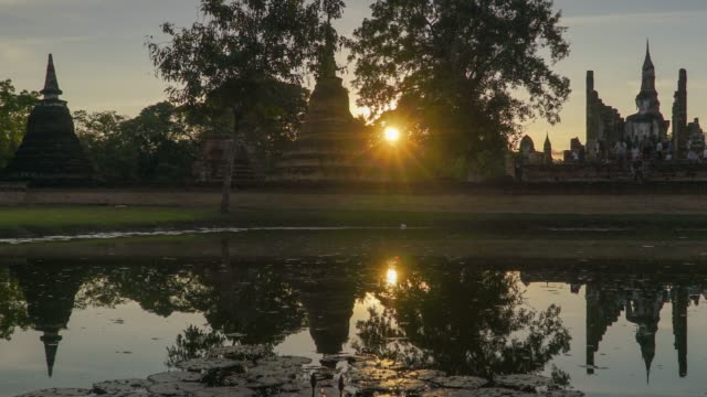 4k timelapse dolly shot, Wat Mahathat Temple in sukhothai historical park in Thailand. video