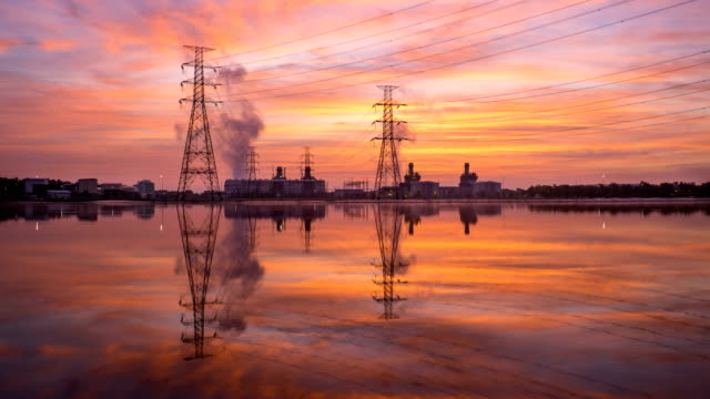 4k timelapse in sunrise of combined cycle powerplant 4k timelapse in sunrise of combined cycle powerplant with beautiful sky gas pipe stock videos & royalty-free footage