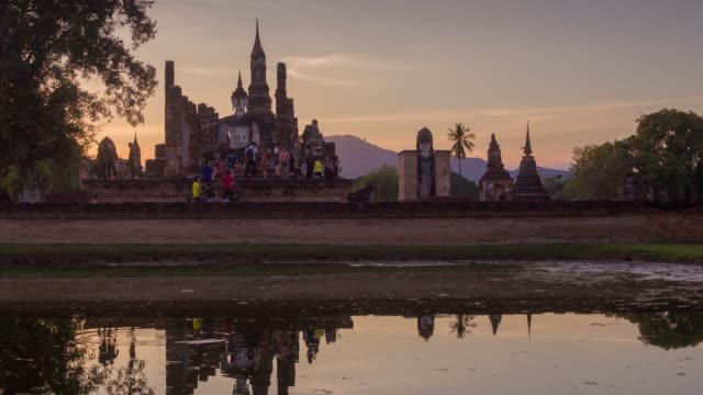 4k timelapse lockdown,Wat Mahathat Temple in sukhothai historical park in Thailand. video