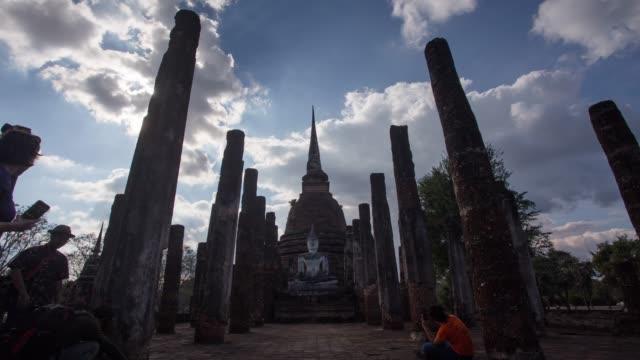 4k timelapse lockdown,Wat Sa-si Temple in sukhothai historical park in Thailand. video