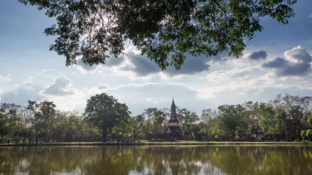 4k timelapse lockdown,Wat Traphang-Ngoen Temple in sukhothai historical park in Thailand. video