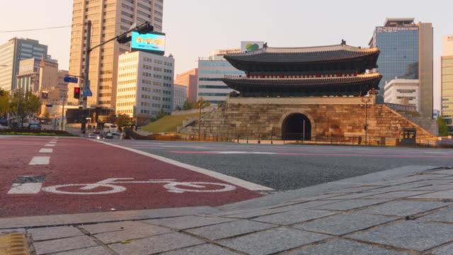 4k time-lapse of car traffic on the road at Namdaemun Gate (Sungnyemun) video