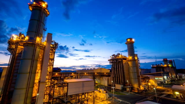 4k timelapse of combined cycle powerplant or fuel gas powerplant video