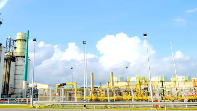 4k timelapse of pan view combined cycle powerplant video