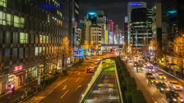 4k time-lapse of Shimbashi commercial and night life district with crowd of people video