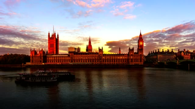 4k timelapse of Sunrise at Houses of Parliament in London video