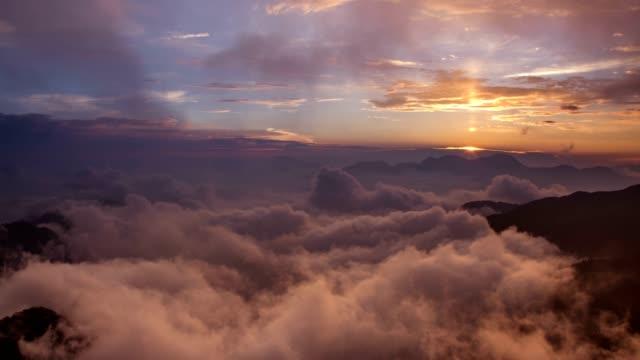 4k timelapse of sunrise of Hehuanshan and Qilai Mountain at the North Peak of Hehuan Mountain video