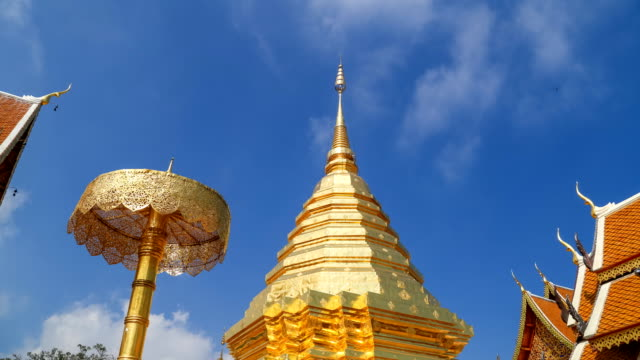 4k timelapse of Wat Phrathat Doi Suthep temple with blue sky in Chiang Mai province, Thailand video