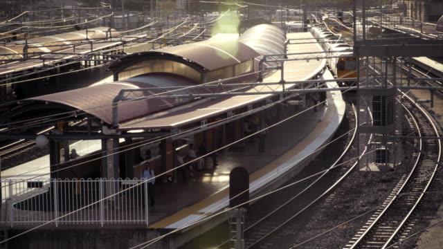 4k Timelapse passenger train arrives and departs station video
