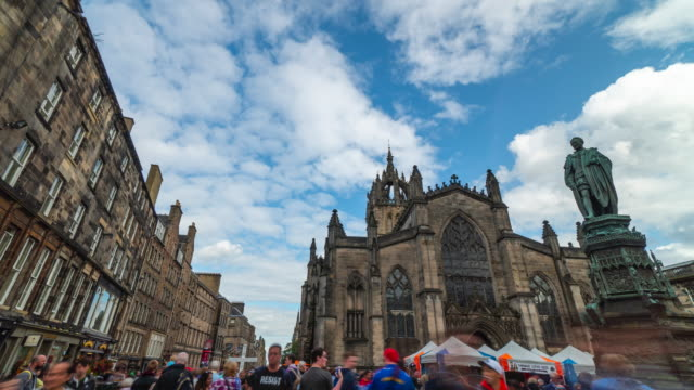 4k Time-lapse : St Giles cathedral, Edinburgh, United Kingdom