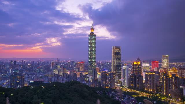 4k Timelapse Sunset of Taipei City Skyline,Taiwan video