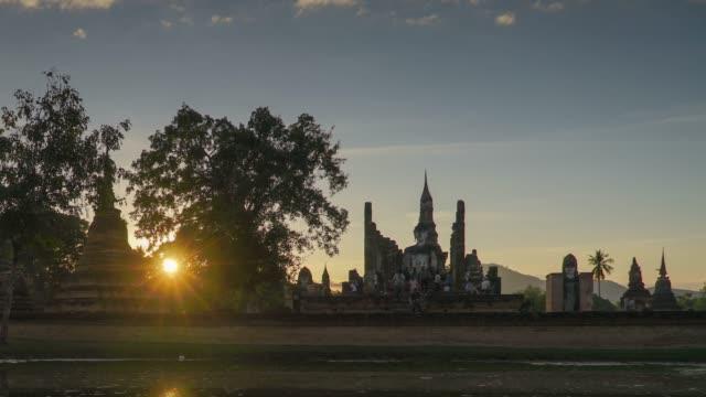 4k timelapse tilt down,Wat Mahathat Temple in sukhothai historical park in Thailand. video