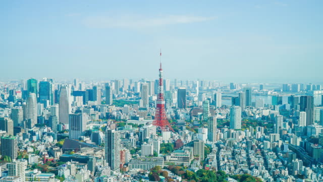 4k timelapse tokyo city with tokyo tower - aerial map stock videos & royalty-free footage