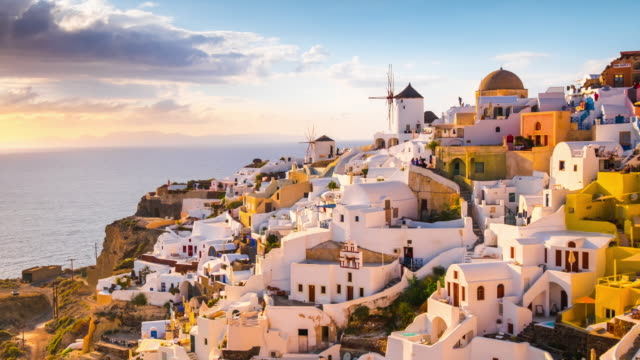 4k timelapse : Village Oia on Santorini island, Greece Caldera, Church, National Landmark, Sea, Aegean Islands greek islands stock videos & royalty-free footage