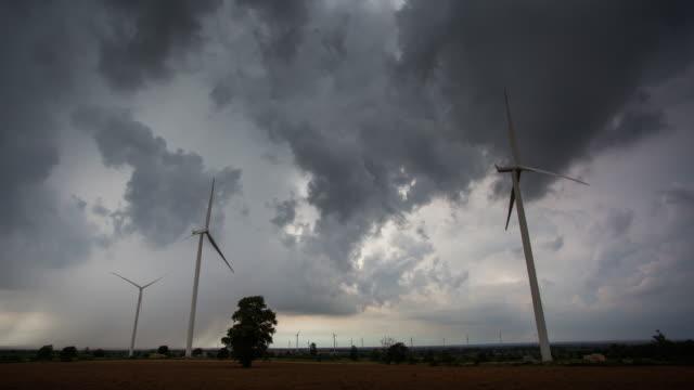 4k Timelapse, Wind turbine and cloudscape. video