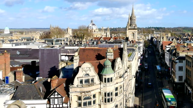 4k Top view of the city of Oxford, England, UK time lapse video