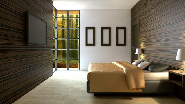4k. Trendy bedroom in classical style with a large comfortable bed. video