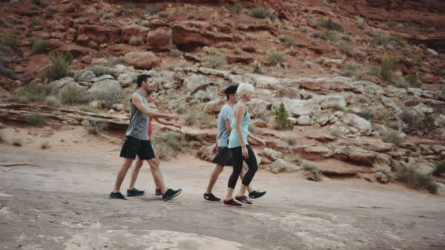 4k UHD: Group of young adults hiking through canyons video