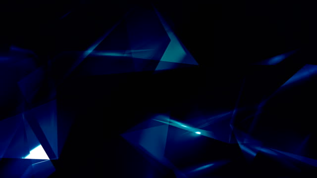 4k video blue abstract geometrical glass - diamond triangles loop able background