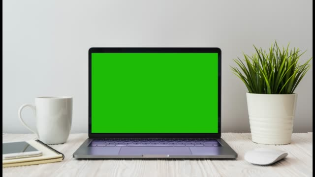 4k video computer laptop show green screen views for social marketing and business uses on wooden desk with a little tree decoration in modern office workplace.