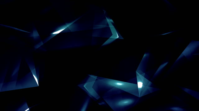 4k video dark blue abstract geometrical glass - diamond triangles loop able background