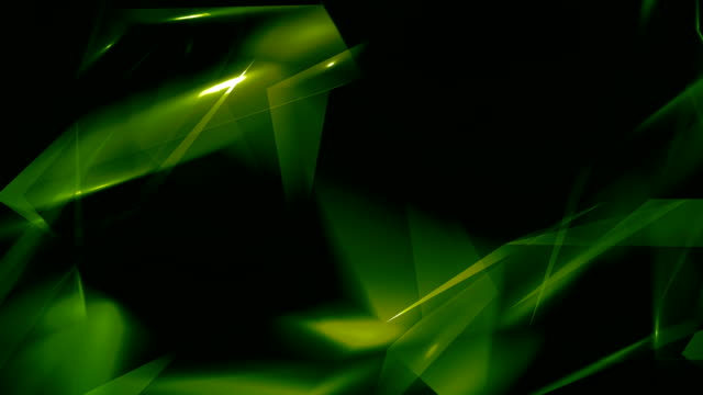 4k video green abstract geometrical glass - diamond triangles loop able background