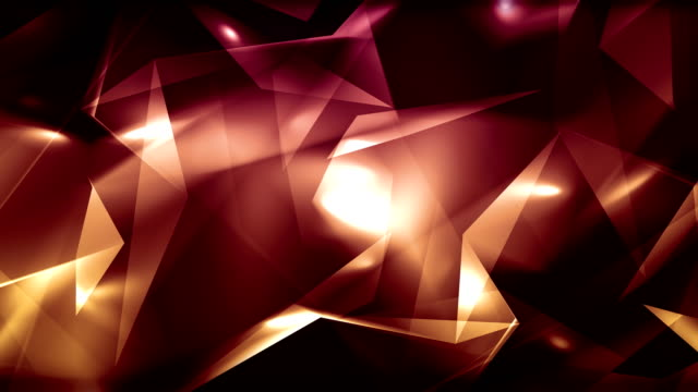 4k video light red abstract geometrical glass - diamond triangles loop able background
