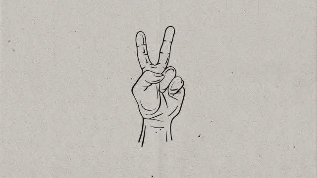 4 k video von hand zeichnung prozess einer hand welche dadurch frieden und sieg zeichen, skizzieren sie auf 3 unterschiedlichen hintergründen, papierhintergrund, tafel hintergrund und green-screen-hintergrund - 2 3 jahre stock-videos und b-roll-filmmaterial