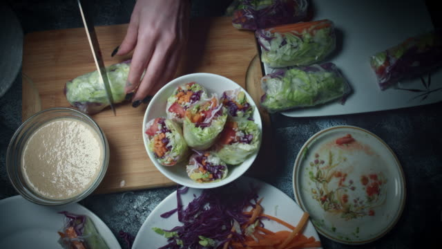 4k Vietnamese Food Spring Rolls in Rice Paper Served