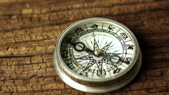 4k Vintage compass in business concept - strategy: Dolly shot
