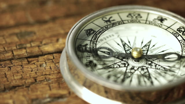 4k Vintage compass in business concept - strategy: Dolly shot 4k Vintage compass in business concept - strategy: Dolly shot: SONY A7r mark 2, lens 100 macro L navigational compass stock videos & royalty-free footage