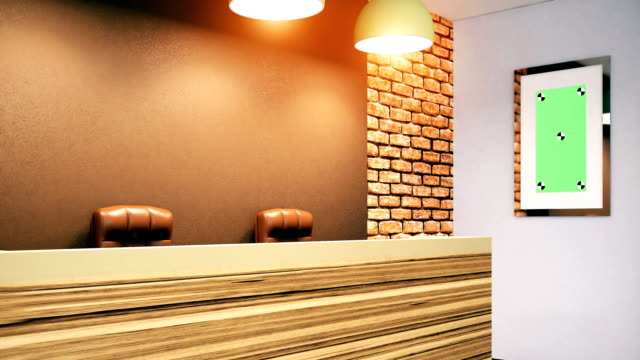 4k. welcome desk in the office - hotel reception filmów i materiałów b-roll