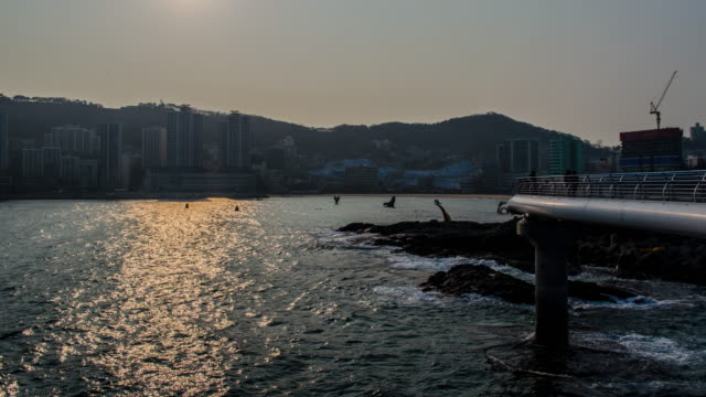 4k wide shot Time lapse of  Songdo Beach in Busan, South Korea, Asia